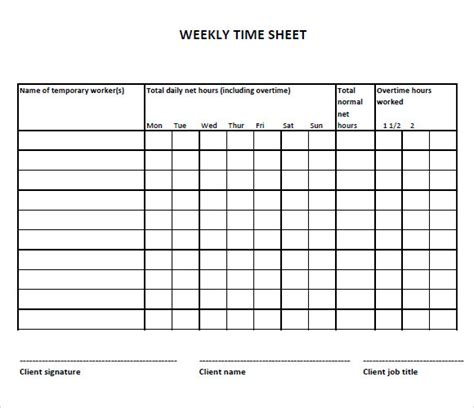 weekly timesheet templates weekly timesheet template