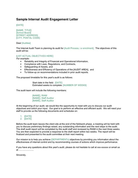 audit engagement letter sle template resume builder