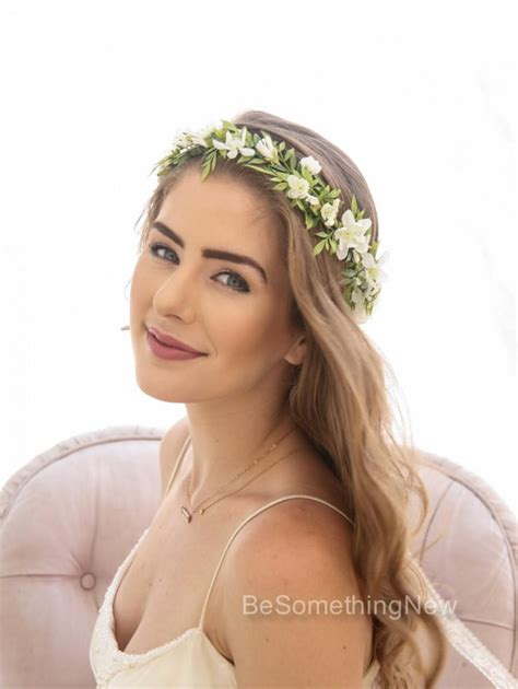 Wedding Hair With Flower Crown by Green Leaf Rustic Floral Crown With Ivory Flowers