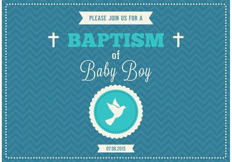 free baby boy baptism vector invitation download free