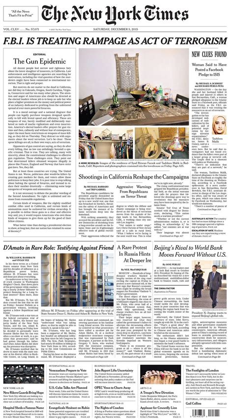 New Time the new york times on quot the front page of the new