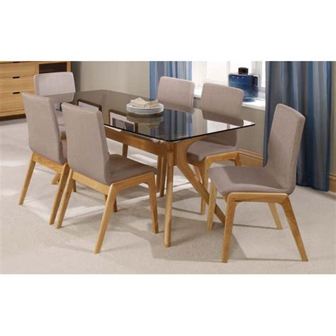 Glass Top Dining Table With 6 Chairs Patio Solid Oak Tinted Glass Top Dining Table And 6 Dining