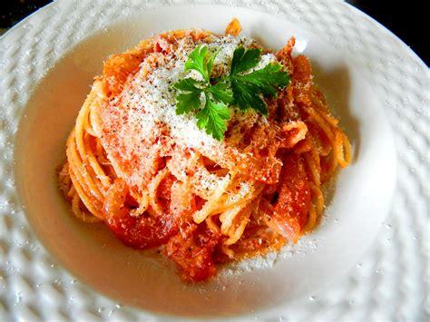 pasta dishes spaghetti all amatriciana a classic roman pasta dish