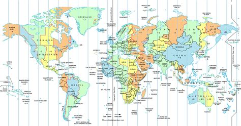 map us new large world time zone map