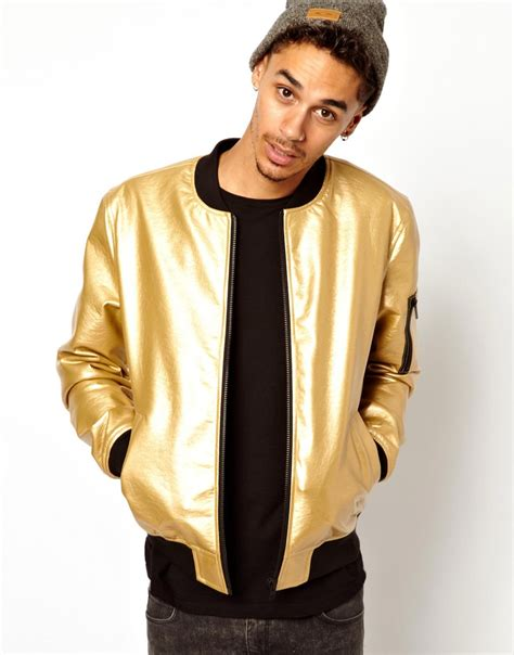 Asos Faux Leather Bomber Jacket in Metallic for Men   Lyst