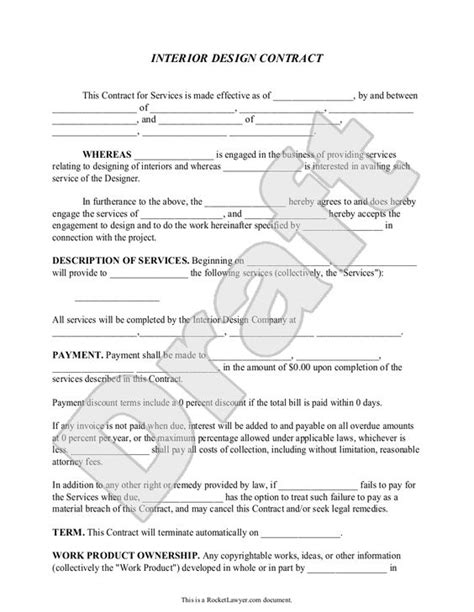 interior design contract agreement template with sle