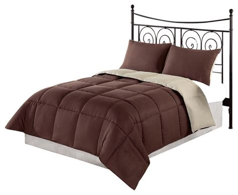 brown down comforter queen chezmoi collection 3pc brown tan down alternative
