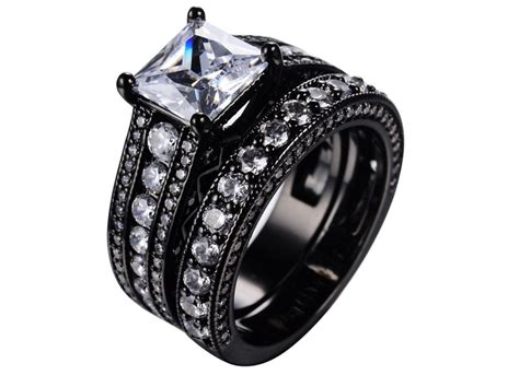 Black Wedding Rings by Womens Black Wedding Ring Sets