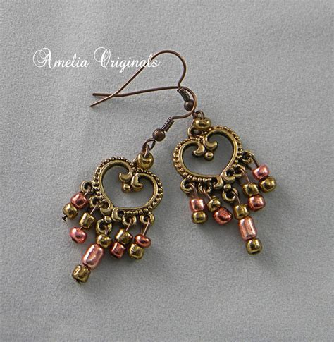 bead me store bronze dangle earrings amelia originals