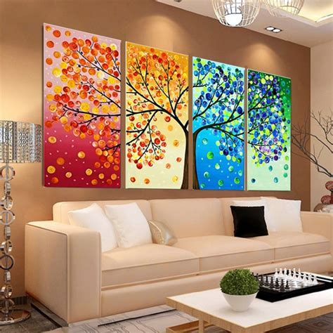 Home Decor Handmade - diy handmade colorful season tree counted cross stitch