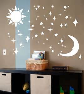 sun moon stars vinyl wall art decal sticker by decal farm glow in the dark moon and stars wall sticker baby bedroom