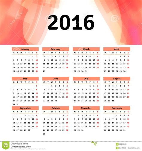 calendar design sles 2016 calendar 2016 template design with header picture stock