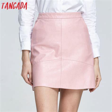 Rok Mini Korea Import Khaki Leather Size L 186396 Tangada 2017 Faux Leather Mini Skirt Pink High