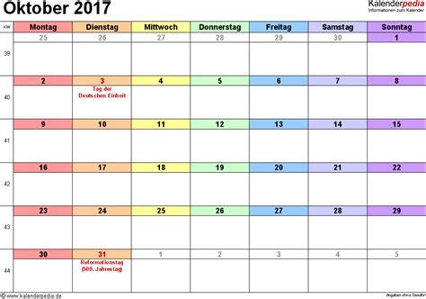 Oktober Kalender 2017 Kalender Oktober 2017 Als Pdf Vorlagen