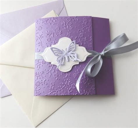 Unique Handmade Wedding Invitations by Butterfly Handmade Wedding Invitation Purple Lavender