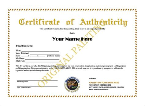 artist certificate of authenticity template artist certificate of certificate of authenticity templates word excel sles