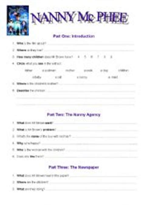 nanny mc phee worksheet part one 2 pages answers