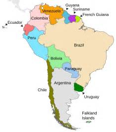 map of south america with country names