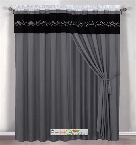 click 4 curtains 4 southwest diamond embroidery curtain set silver gray