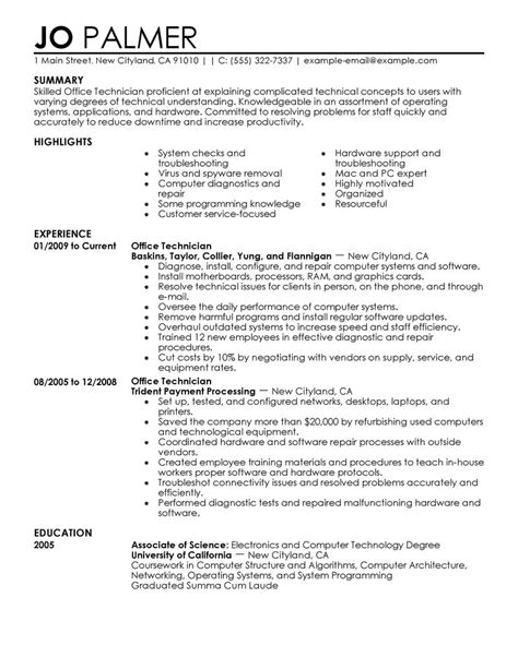 computer repair technician resume now exles objectives