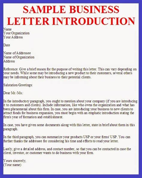 Business Introduction Letter Template business letter sle business letter introduction