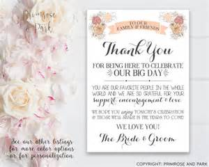 wedding thank you card for reception or hotel welcome bags