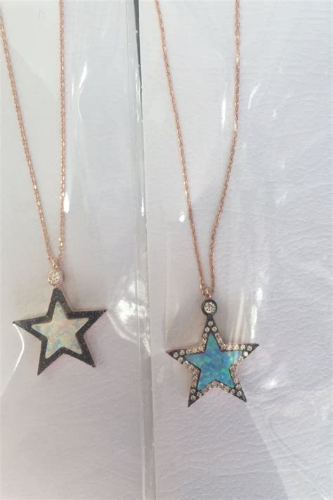 blue opal necklace blue opal necklace blue opal star pendant necklace star