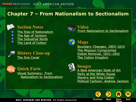 Sectionalism And Nationalism by Chapter 7 From Nationalism To Sectionalism Ppt