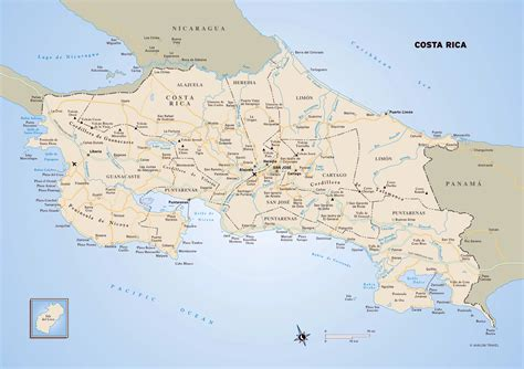 detailed road map of costa rica large political map of costa rica with roads major cities