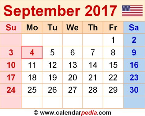 September 2017 Calendar With Holidays September 2017 Calendar With Holidays Weekly Calendar