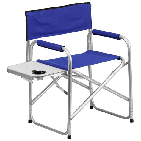 aluminum folding cing chair with table blue free shipping