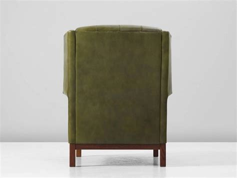 arne norell high  chair  patinated green buffalo leather  sale  stdibs