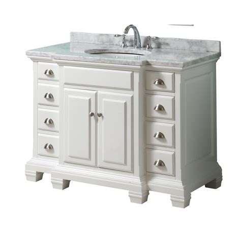 White Bathroom Vanity With Marble Top by Shop Allen Roth Vanover White Undermount Single Sink