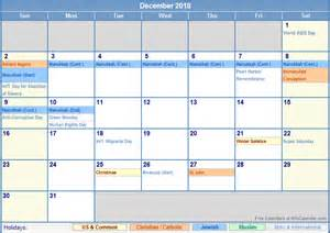 2018 Calendar With Religious Holidays The Calendar Calendar Template 2016