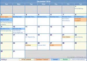 2018 calendar with holidays december 2018 calendar with