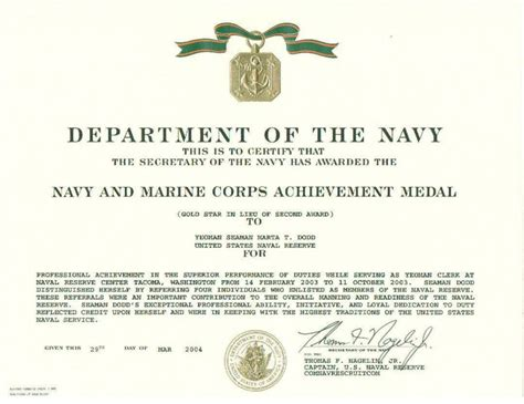 meritorious service medal citation template images