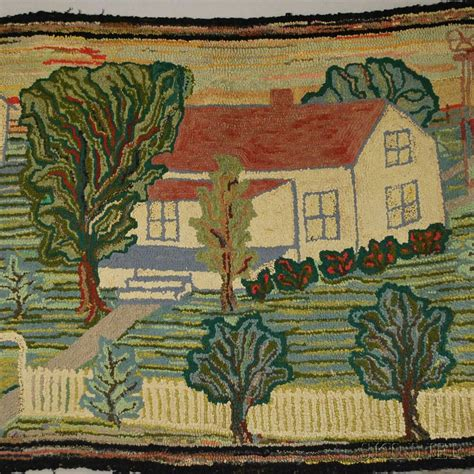 farm rugs landscape with farm view pictorial hooked rug and grenfell mat depicting a sled sale