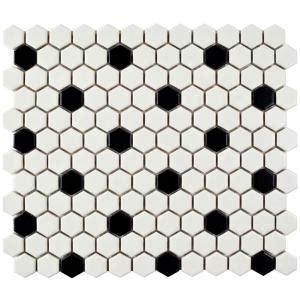 Merola Tile Metro Hex Matte White with Black Dot 10 1/4 in