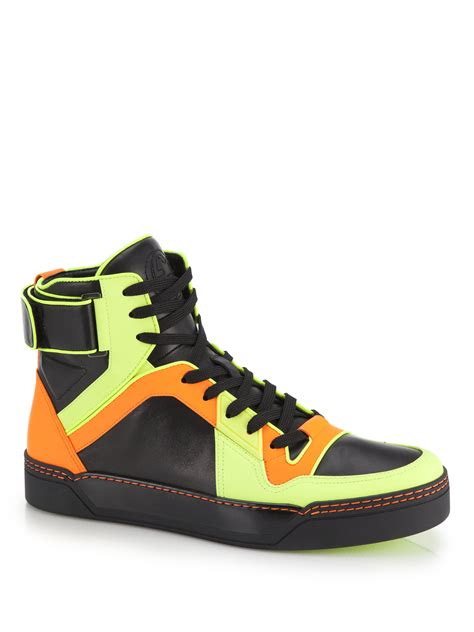 neon high top sneakers gucci neon leather high top sneakers for lyst