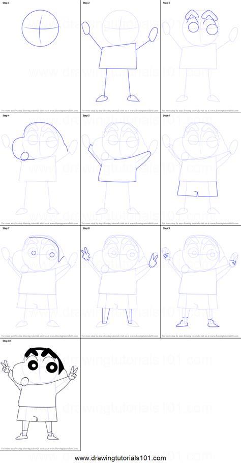 tutorial alis shinchan how to draw shin chan printable step by step drawing sheet