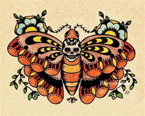 tattoo old school diseños arte del tatuaggio old school morte moth cranio sta 5 x 7