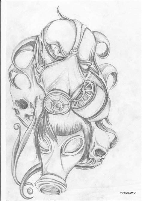 skull mask tattoo designs gas mask by kiddotattoo on deviantart