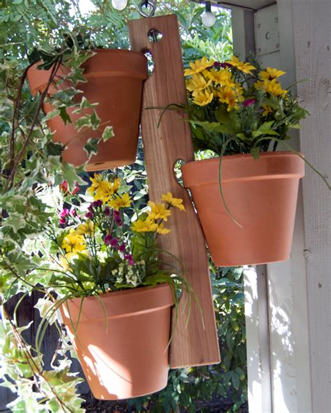 wood clay pot plant hanger