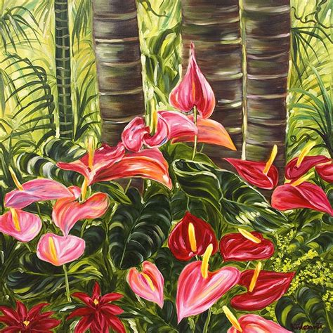 hawaiian flower painting tropical pink anthurium jungle floravita