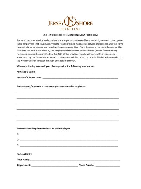 employee of the month nomination form 5 free templates