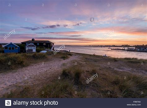 the black house on mudeford spit in dorset stock photo