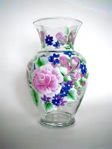 items similar to painted glass vase with pink roses