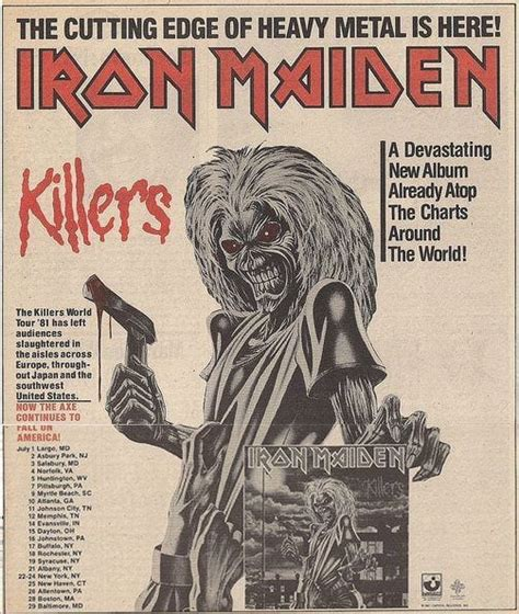 maiden murders books iron maiden killer world tour 81 t shirt available