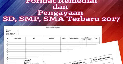 format buku remedial format remedial dan pengayaan sd smp sma terbaru 2017