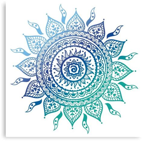 quot blue gradient mandala quot canvas prints by adjsr redbubble